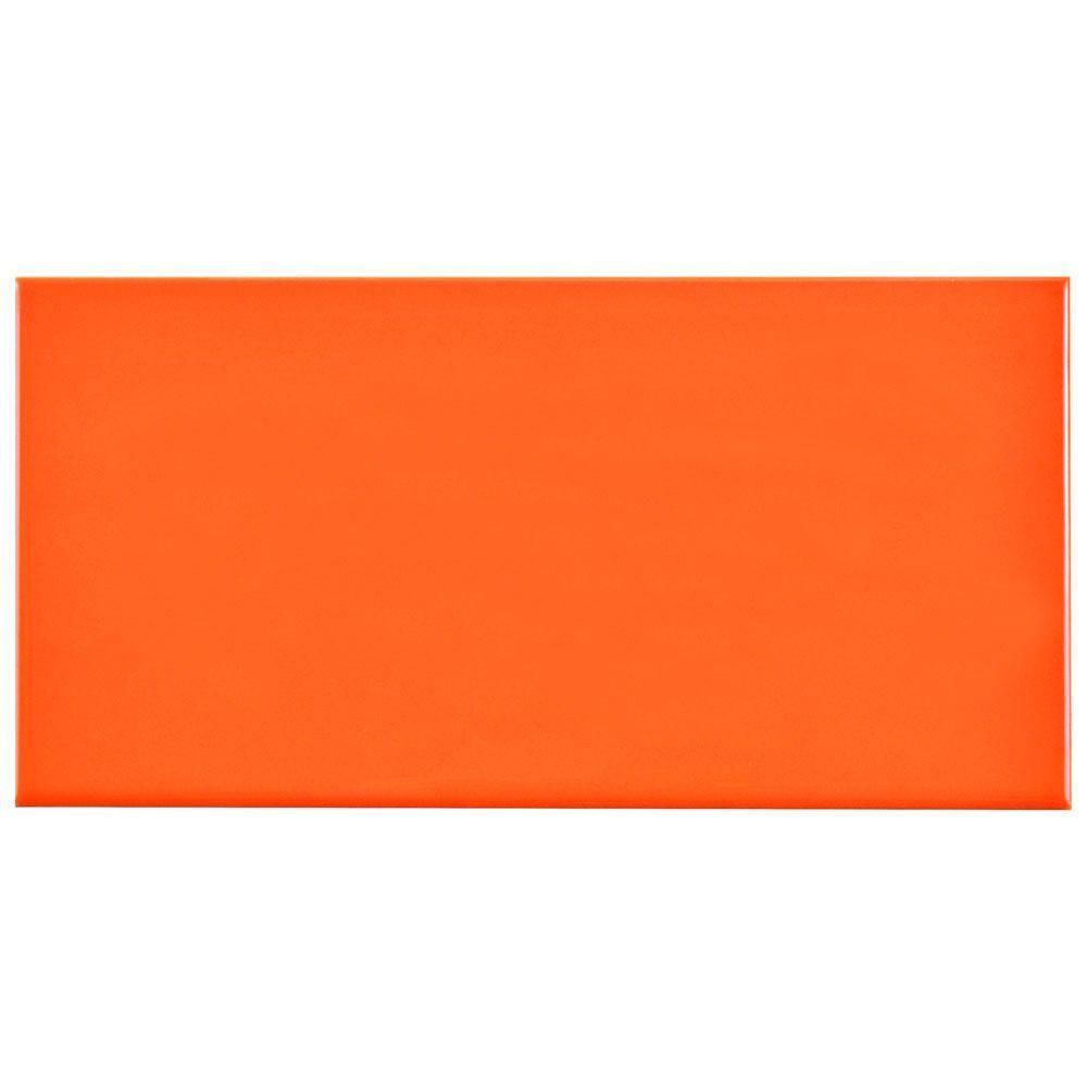 Merola Tile Park Slope Subway Glossy Tangerine Orange 3 In X 6 Ceramic