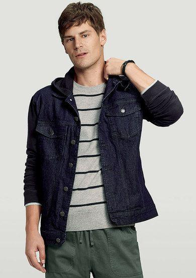 63f5d674dd931f Jaqueta Jeans Masculina Hering Com Capuz Em Moletom   Moda Masculina ...