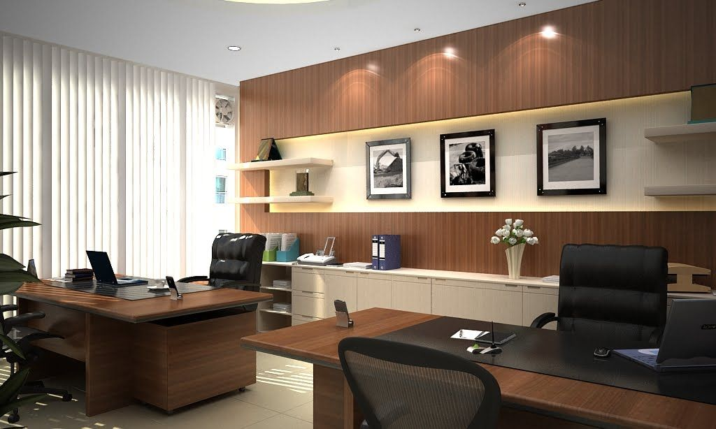 Modern style director room interior design decorating for Office room decoration ideas