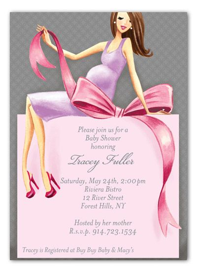 b63ad79b01f1 Expecting a Big Gift Girl Brunette Baby Shower Invitation