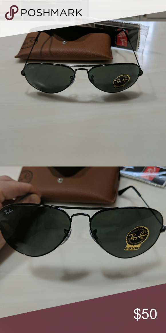885b6a0e3 NEW: Ray-Ban Aviators Black frame. Grey lenses. BRAND NEW. never worn Ray- Ban Accessories Sunglasses