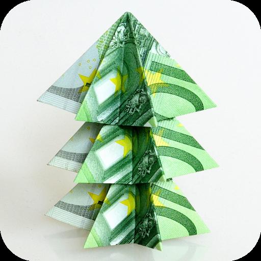 Weihnachtsbaum aus 100 EuroScheinen Mit dieser Anleitung