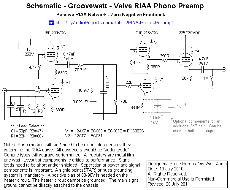 schematic groovewatt tube valve riaa phono preamp diy audio rh pinterest com