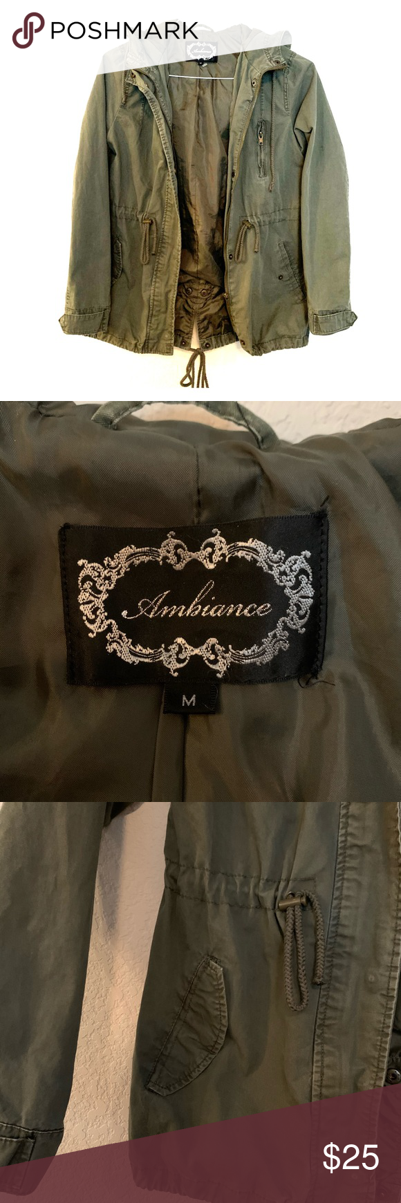 Army Green Field Jacket Cute Army Green Field Jacket With Adjustable Tie Waist And Hood Ambiance Jackets Coats Utilit Field Jacket Army Green Clothes Design [ 1740 x 580 Pixel ]