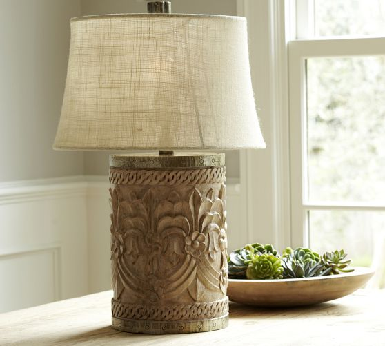 Pottery barn rowan table lamp of carved wood update i ended up rowan carved wood table lamp bases aloadofball Images