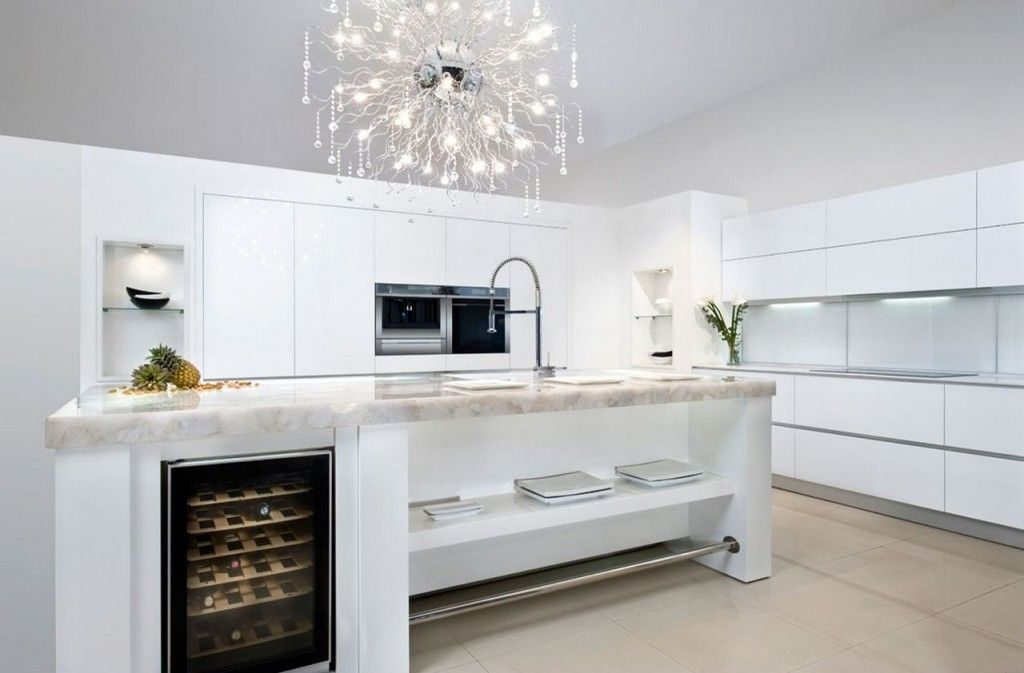Villa Firework Chandelier On Modern White Themed Kitchen Decor