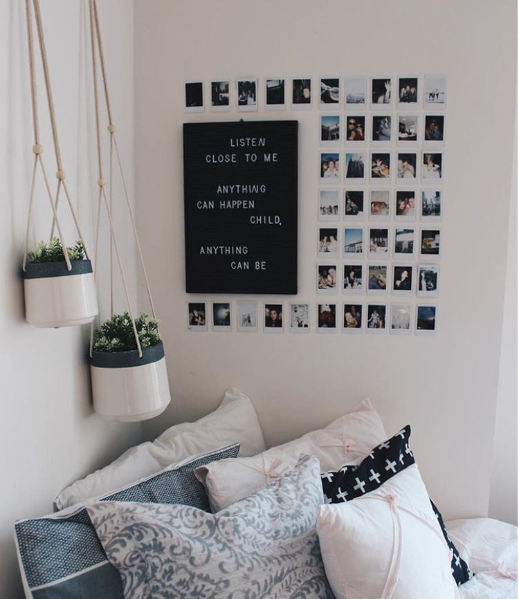 Tumblr Room, Bedroom, Desk, Minimalist, Minimalism, Aesthetic, White,  Black, Dream Room, Dream Space, Grunge, Plants (photo Wall Decor)