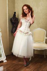 ivory/pink overbust corset  wedding dresses london tea