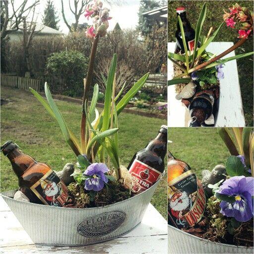 Biergarten Geschenk kleine Aufmerksamkeit Männer Frühjahr Frühling Frühblüher Blumen Herrentag Zinkschale mit Gartenzwerg und Vogel, Stiefmütterchen Moos Holz Garten Flower Garden Bier Geschenkidee