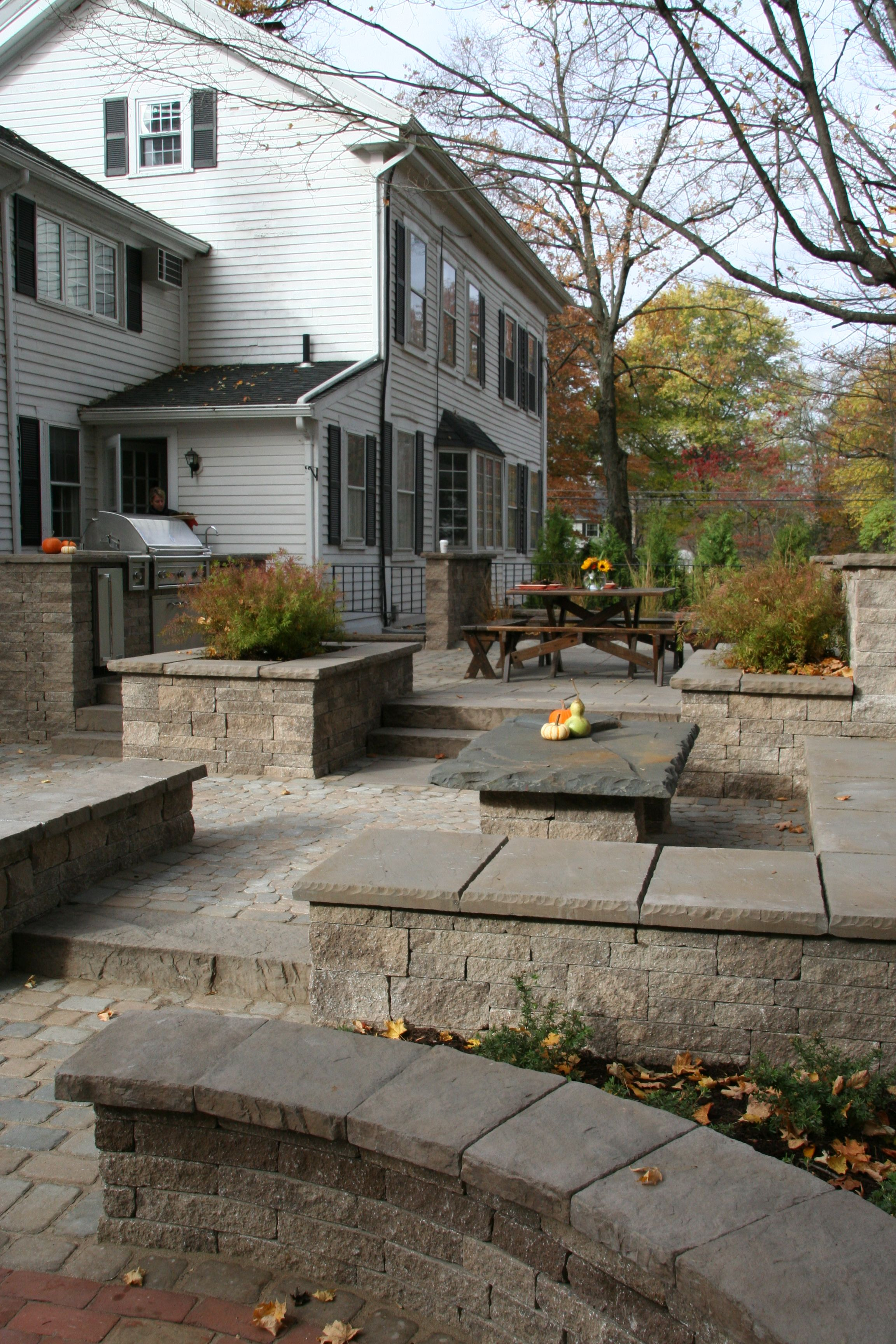Multi level paver patio with steps retaining walls and landscaping
