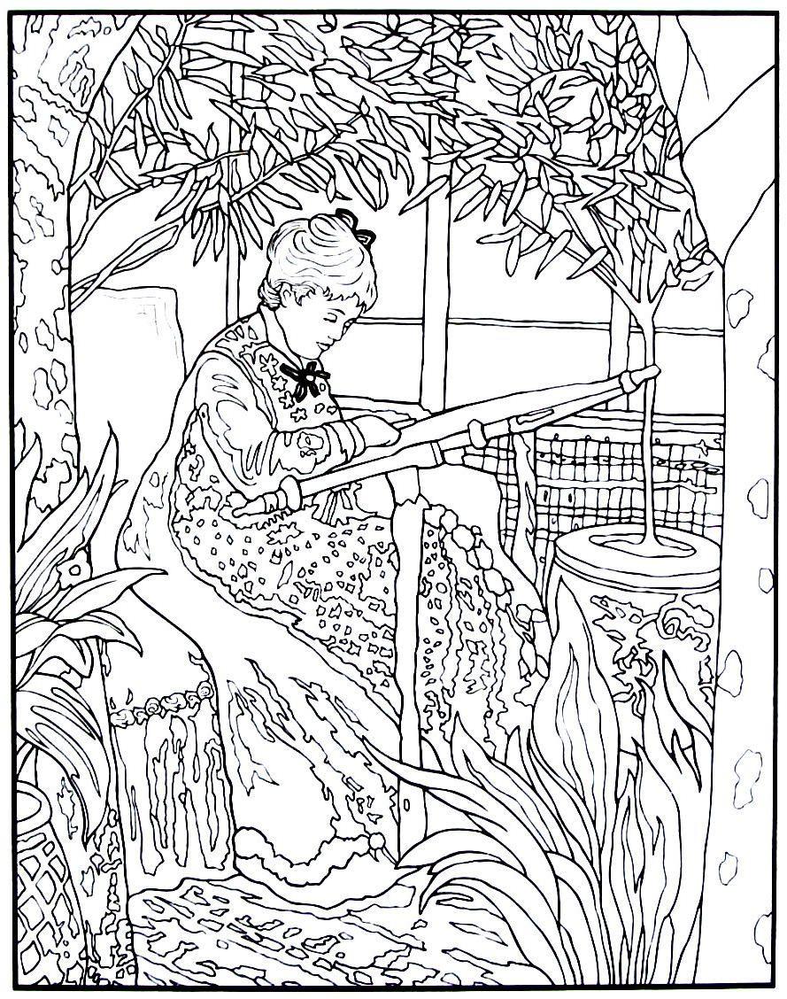 Madame Monet Embrodiring Impressionist Painting By Claude Monet Printable Coloring Book Page Kleurplaten Kunstenaar