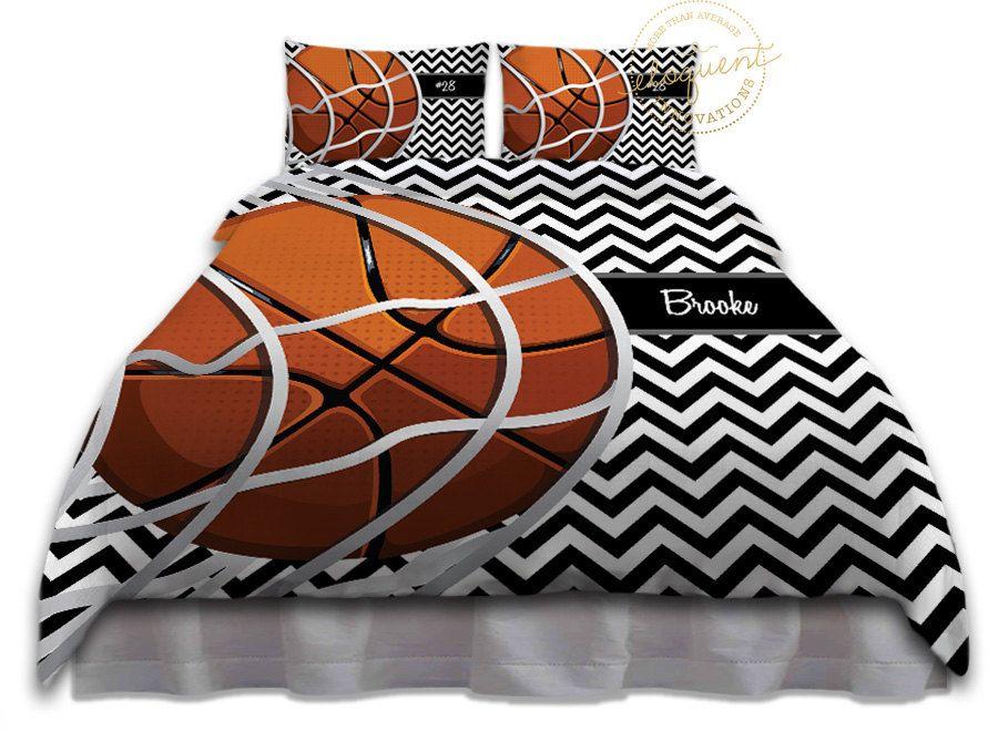 Basketball Themed Bedding Duvet Cover Black White Chevron