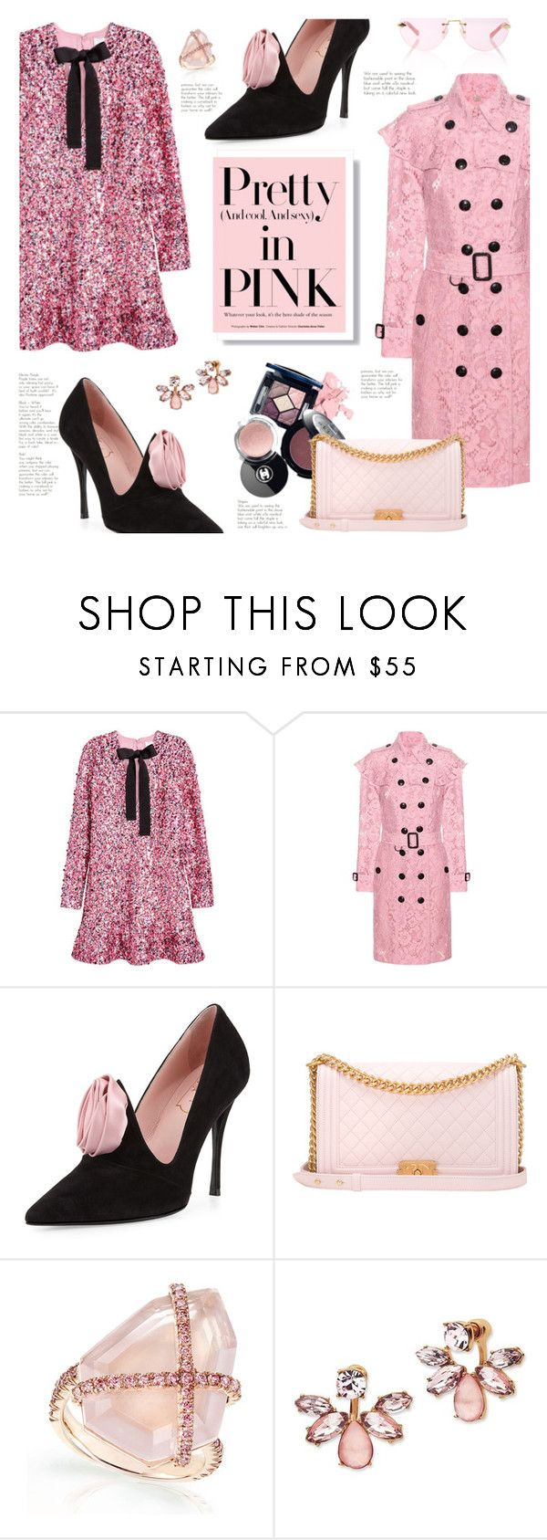 """""""Keep it Pretty"""" by lisalockhart ❤ liked on Polyvore featuring H&M, Burberry, Roger Vivier, Chanel, Marchesa, Karen Walker, Pink and monochromepink"""