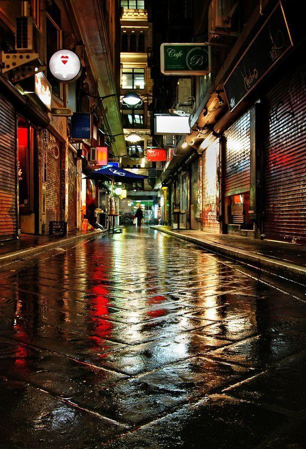 Melbourne Streetscape Night Google Search Melbourne Laneways Melbourne Victoria Australia
