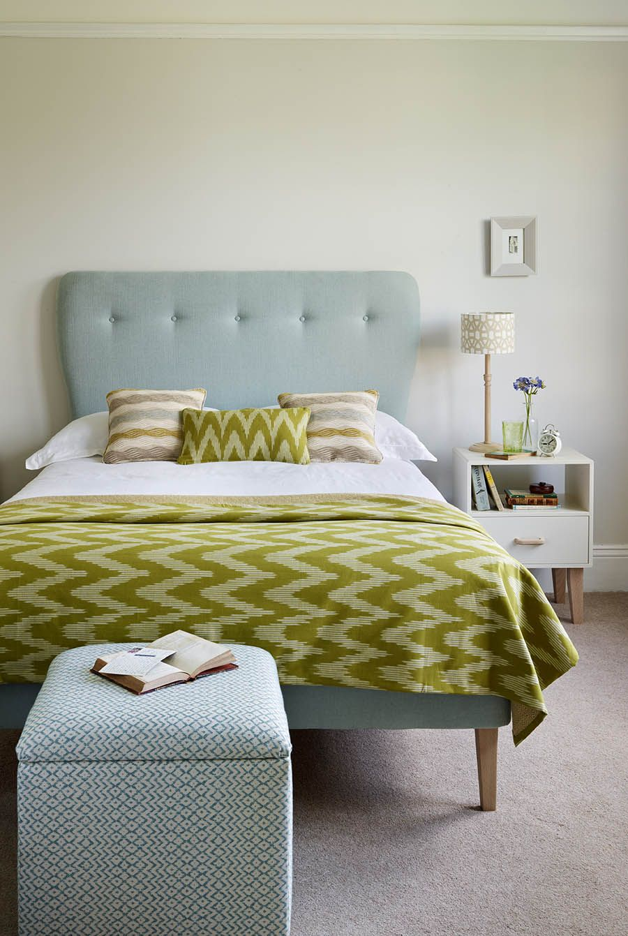 Master bedroom headboard ideas  Ideas from edormyhouse Our retro bed in pale blue looks
