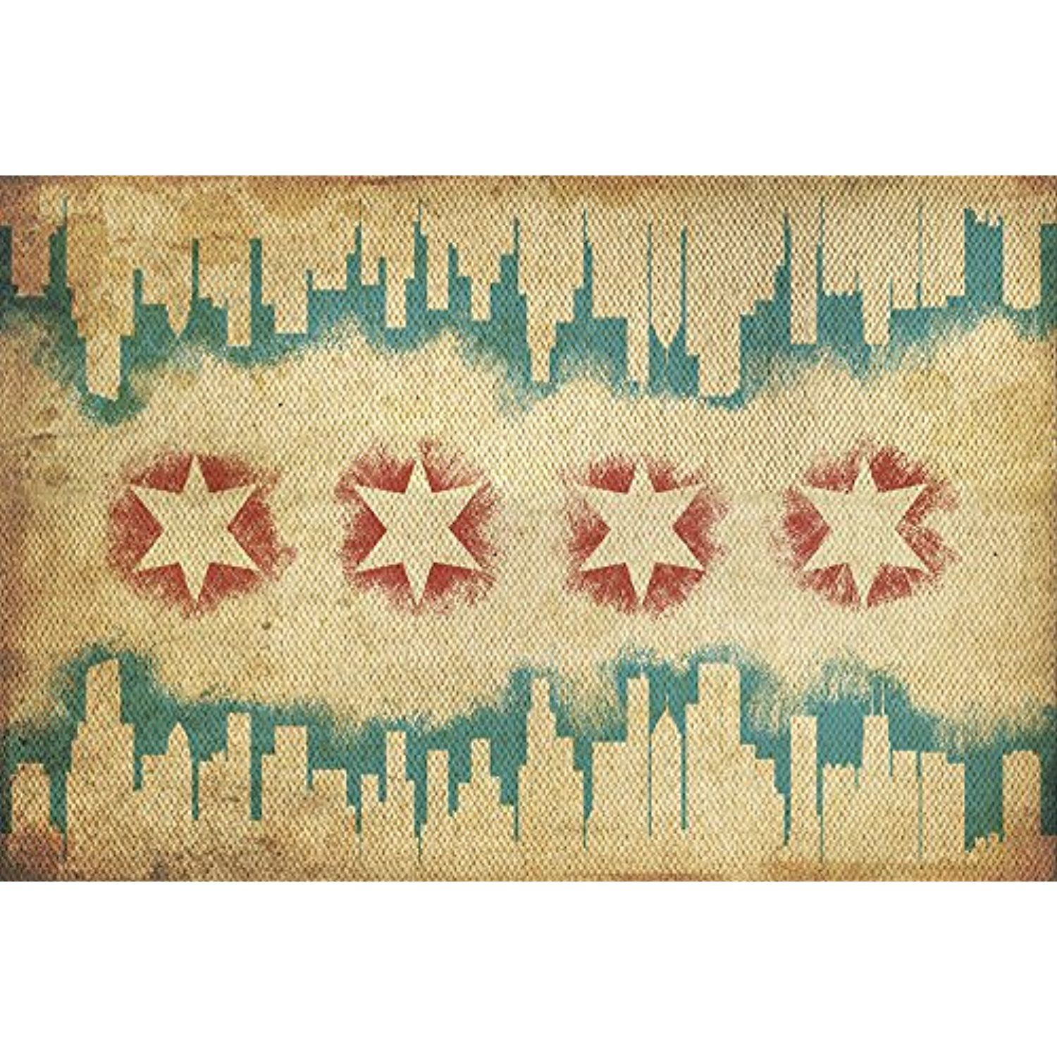 Chicago, Illinois - Flag and Skyline Tapestry (12x18 SIGNED Print ...