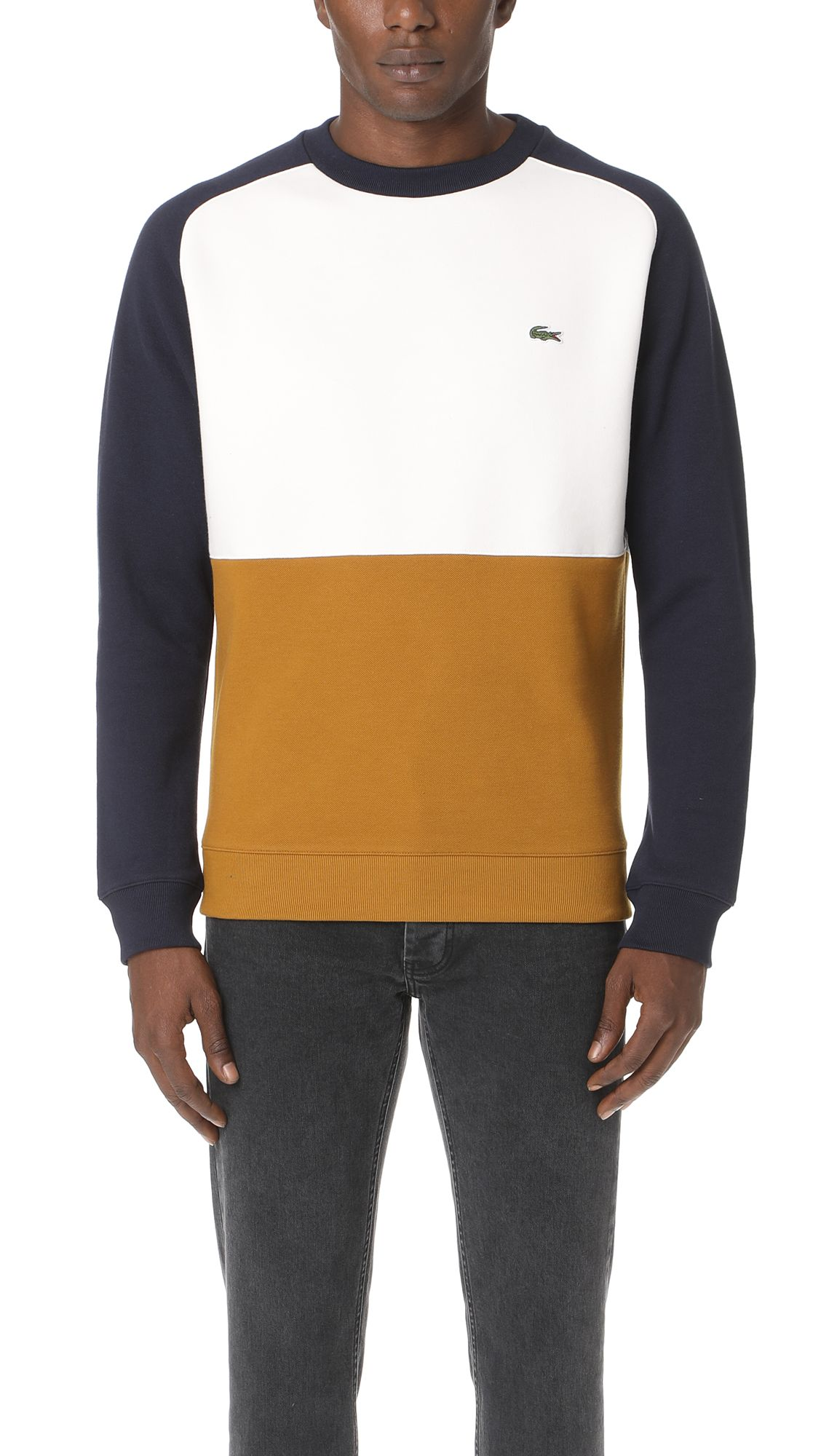 ba1a581e53 LACOSTE Brushed Pique Fleece Colorblock Sweatshirt. #lacoste #cloth ...