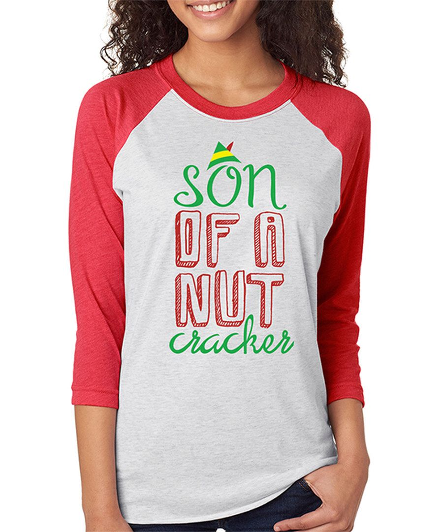 Look at this SignatureTshirts Heather Red 'Son Of A Nut Cracker' Raglan Tee on #zulily today!