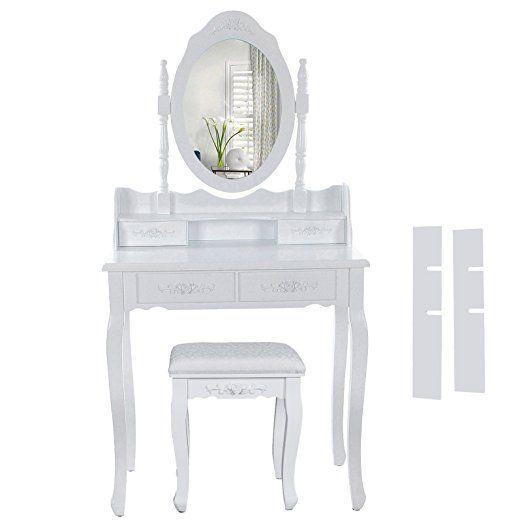 Songmics Dresser 4 szuflady zaw. 2 szt rozdzielacz, anty-tilt, stolec u. Lustro białe RDT77F