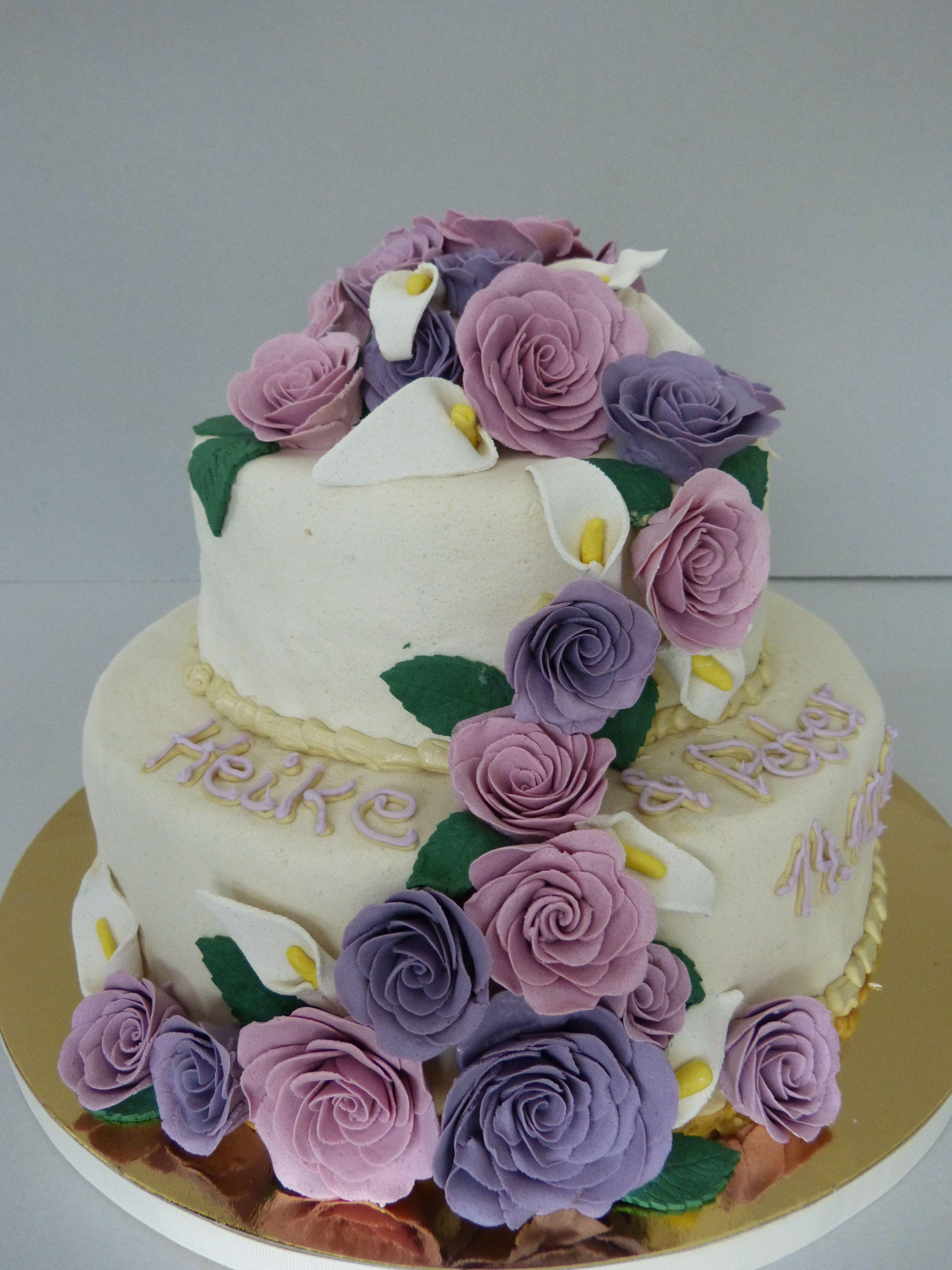 Wedding Cake Marzipan Roses Rosen Hochzeitstorte Lila Rosa