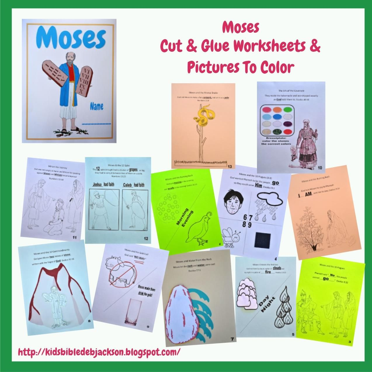 Bible Fun For Kids Moses Cut Amp Glue And Pictures To Color Ot