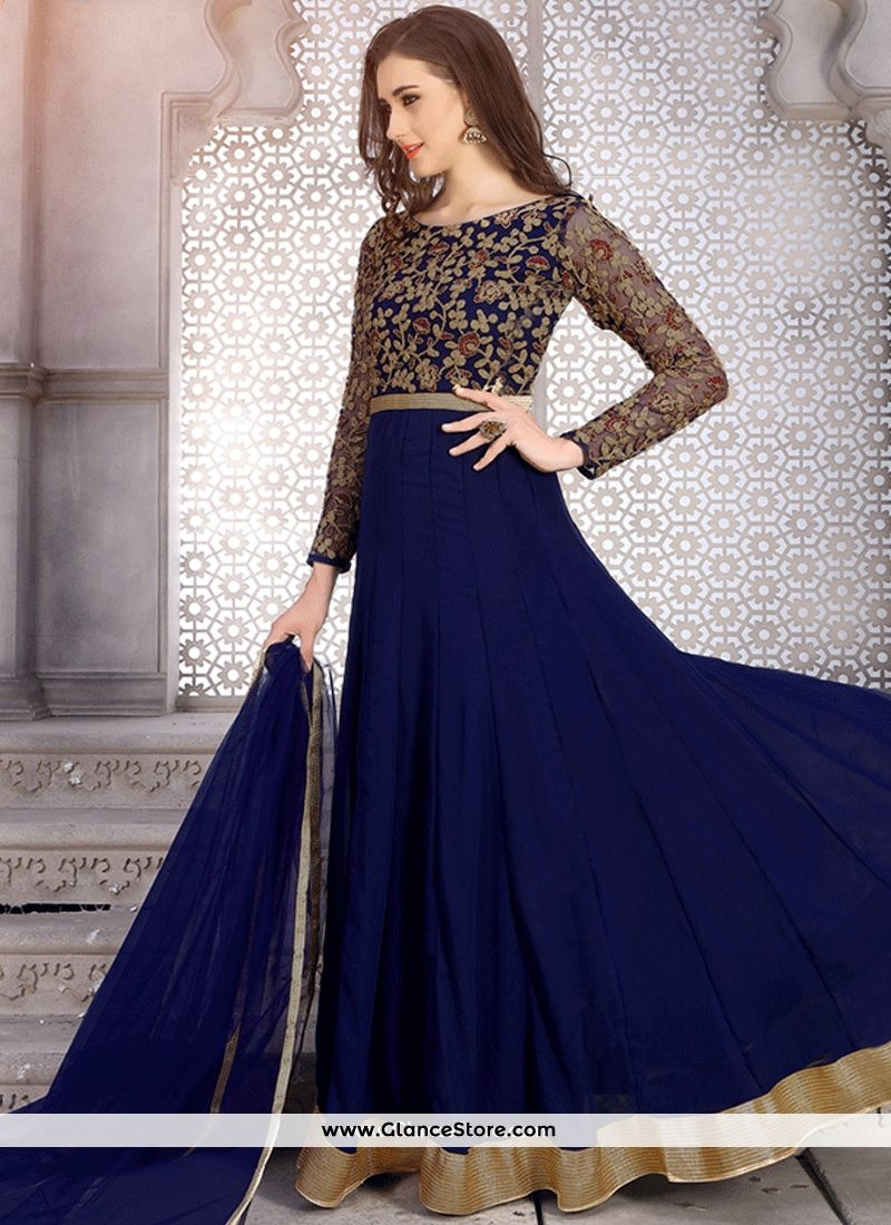 3e0f1711cabf Ideal Embroidered Work Navy Blue Faux Georgette Floor Length Anarkali Suit