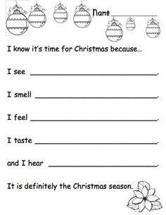 christmas writing activities for kindergarten