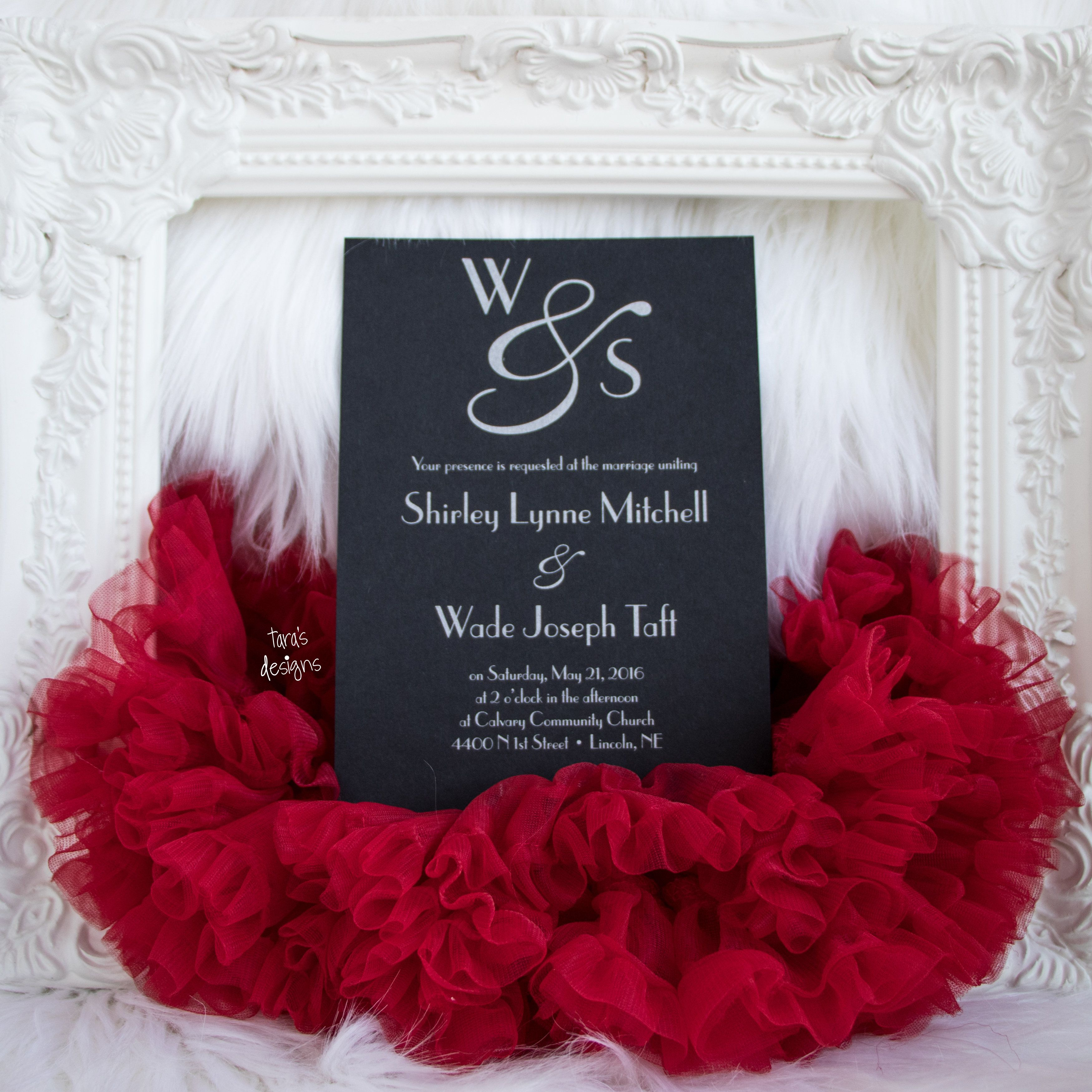 wedding invitation black with silver ink and red insert cards and ...