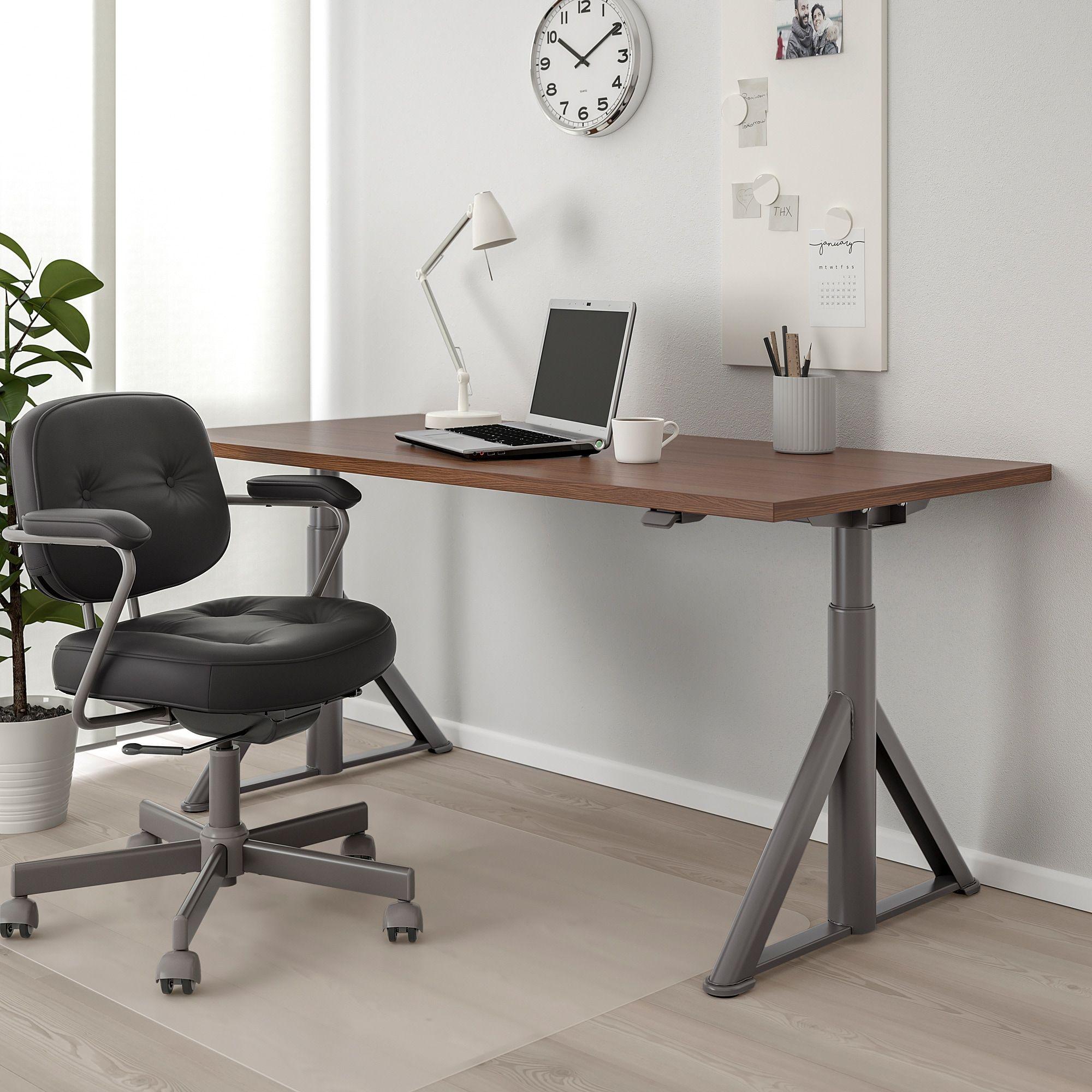 Ikea schreibtisch schwarz  IDÅSEN Schreibtisch sitz/steh braun, dunkelgrau in 2019   Products ...