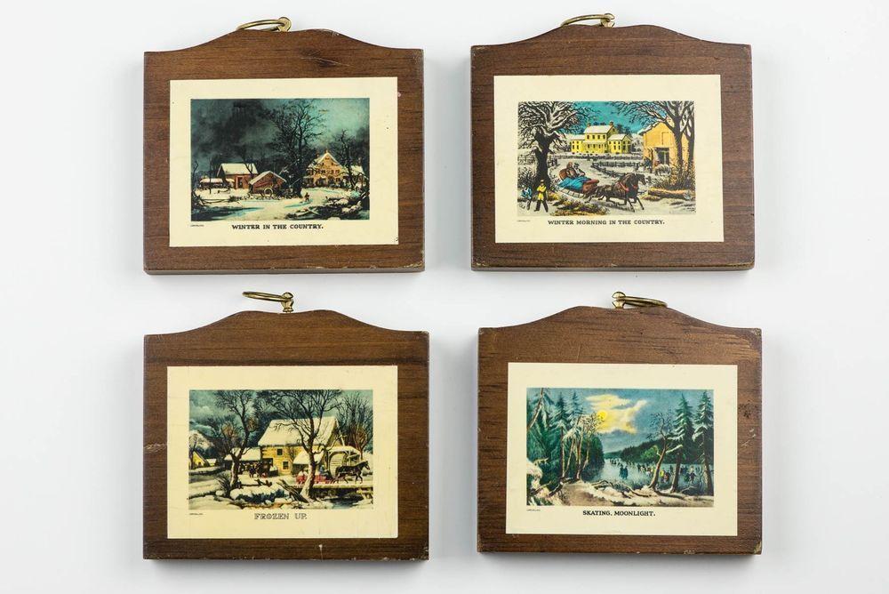 00c14235e36e 4 vintage CURRIER   IVES plaques winter scenes LOUISE THOMPSON Manchester  Wood