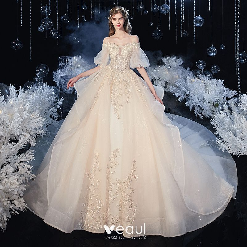 Victorian Style Champagne Bridal Wedding Dresses 2020 Ball