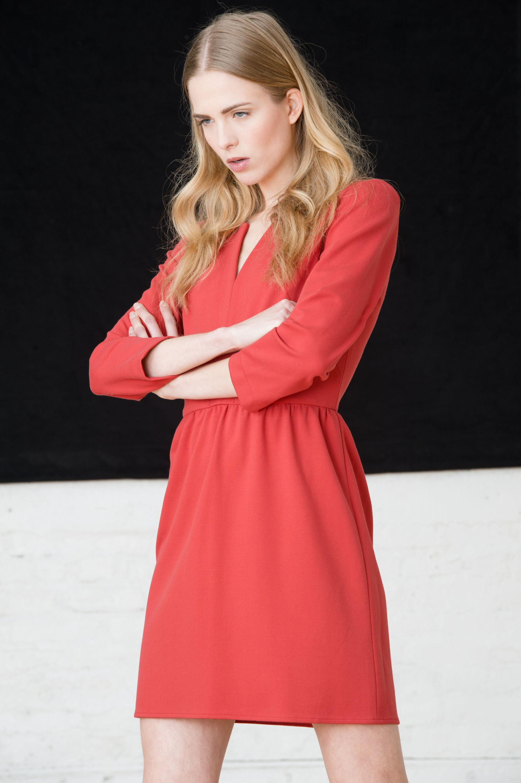 4.c - ponte 3/4 sleeve plit neck dress