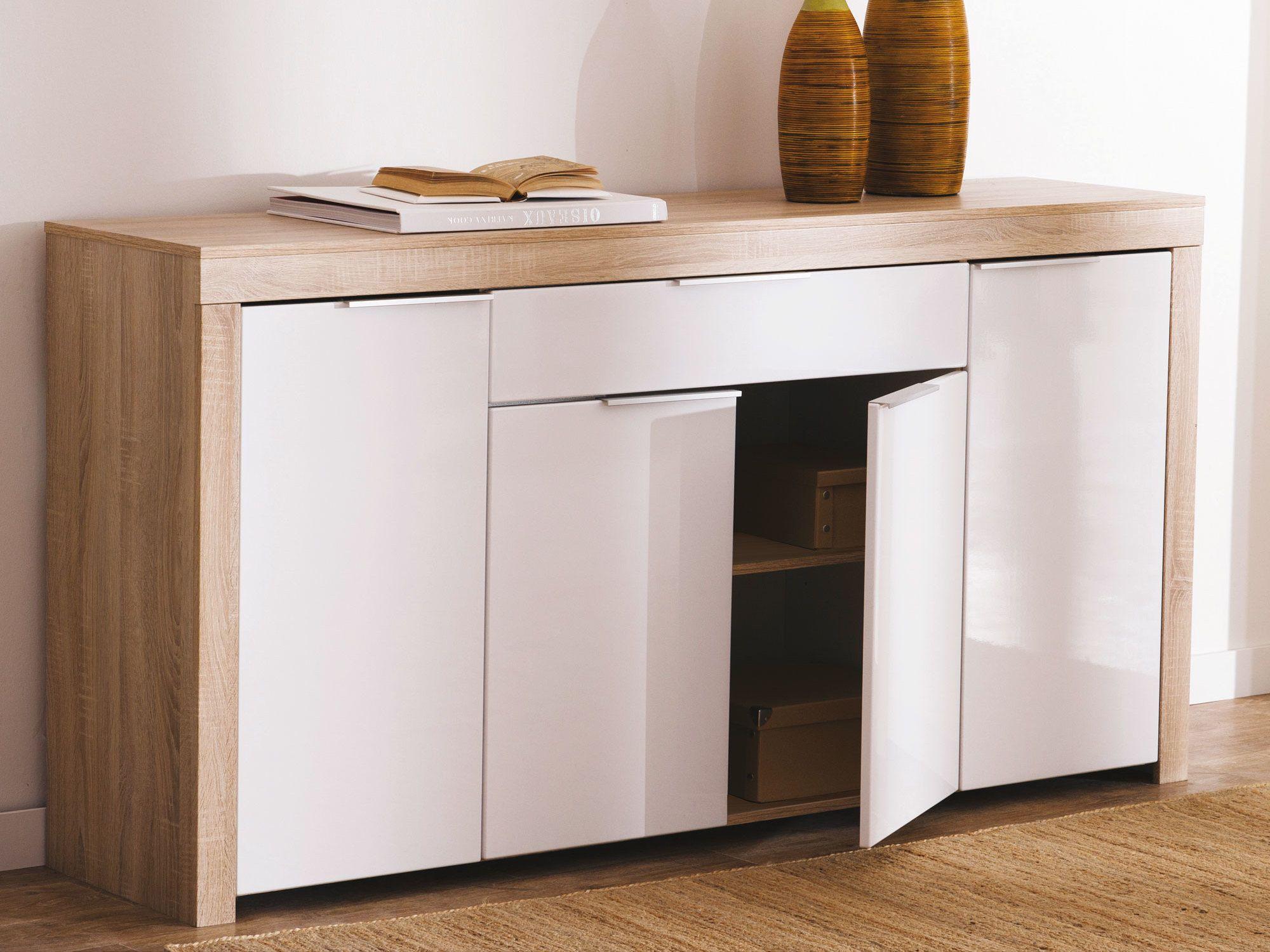 Buffet bas 4 portes 1 tiroir blanc et bois L177 2 cm NAXIS