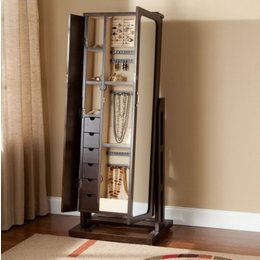 Mirrored Jewelry Armoire Free Standing Full Length Mirror Cabinet Bo
