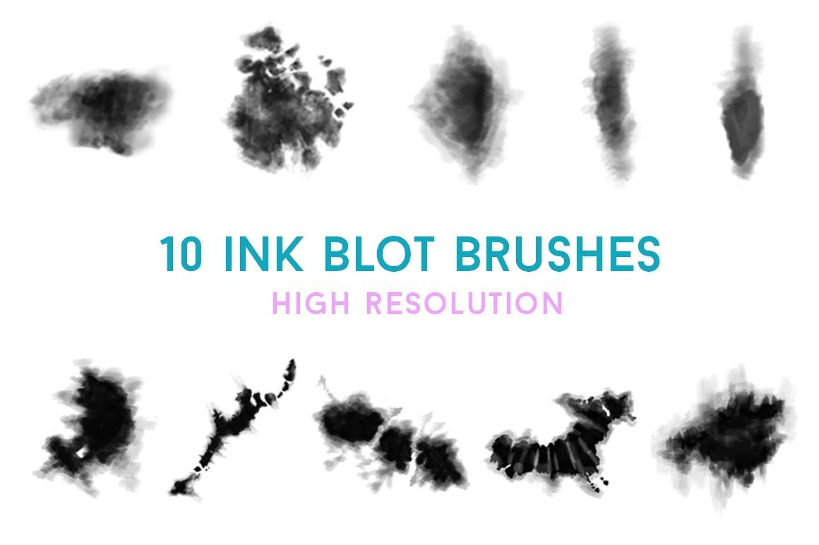 Digital Tie Dye 5 Brush Bundle Ink Blot Photoshop Brush Set
