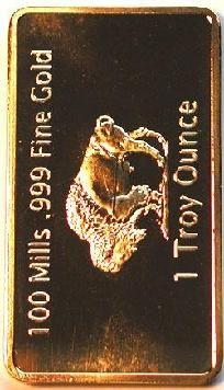 1 Troy Oz Gold Buffalo Art Bar Plated