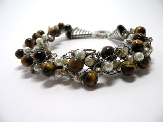 Brown bead wired bracelet with silver clasp by ZoilaBelleCreations, $40.00