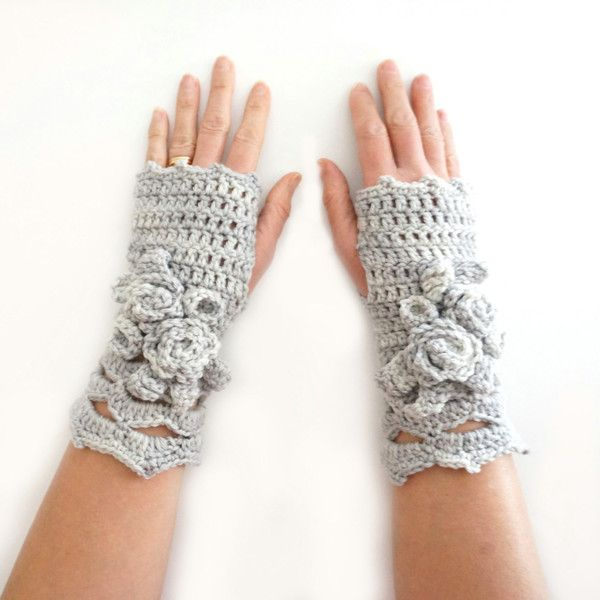 Elegant Rose Arm Warmers, Ivory hand warmers, Ivory rose hand warmers,... (€40) ❤ liked on Polyvore featuring accessories and gloves