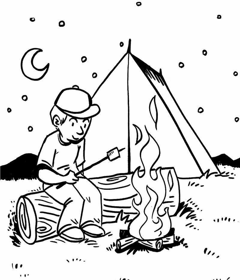 Rv Camping Coloring Pages Free Binatang Warna Kartun