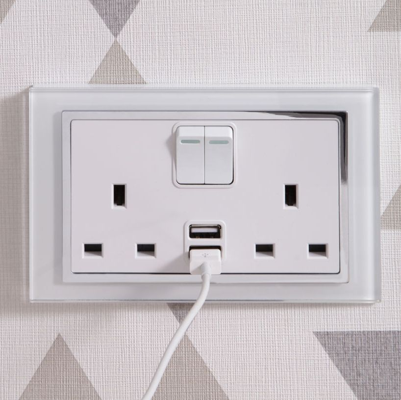 Crystal Ct 2 1a Usb 13a Dp Double Plug Socket With Switch White Plug Socket Sockets Remote Light Switch
