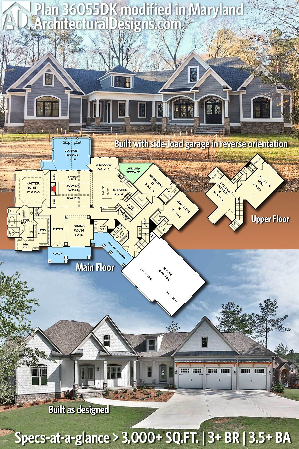 Architectural Designs Craftsman House Plan 36055dk Built In Maryland With A Side Architectural In 2020 Garage House Plans Ranch House Plans Craftsman House Plans