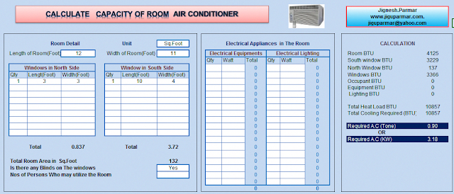 Room Air Conditioning Size Calculator Excel Sheet | home