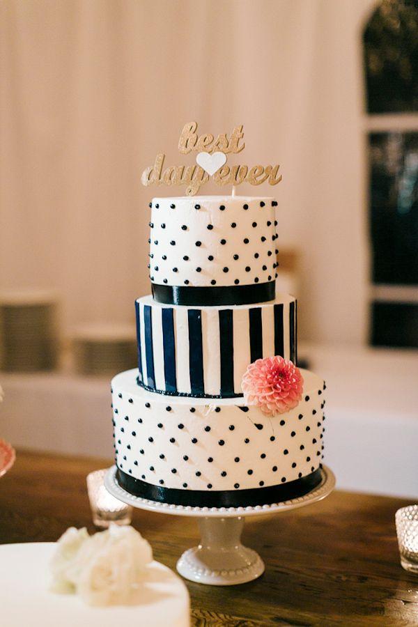 Polka Dot and Striped #Nautical #Wedding #Cake   Photo by Harrison Studio