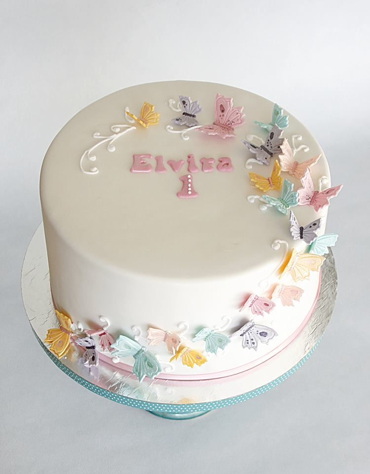 An easy butterfly cake using stickers and a little trick for flying - fresh birthday invitation baby girl