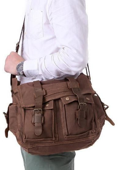 239213428f50b Old School 14   Brown Leather and Canvas Messenger Bag for School ...