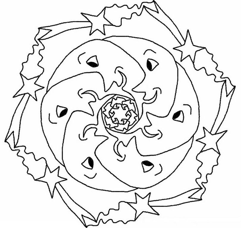Coloring page Stars Sun Moon Coloring pages, Adult