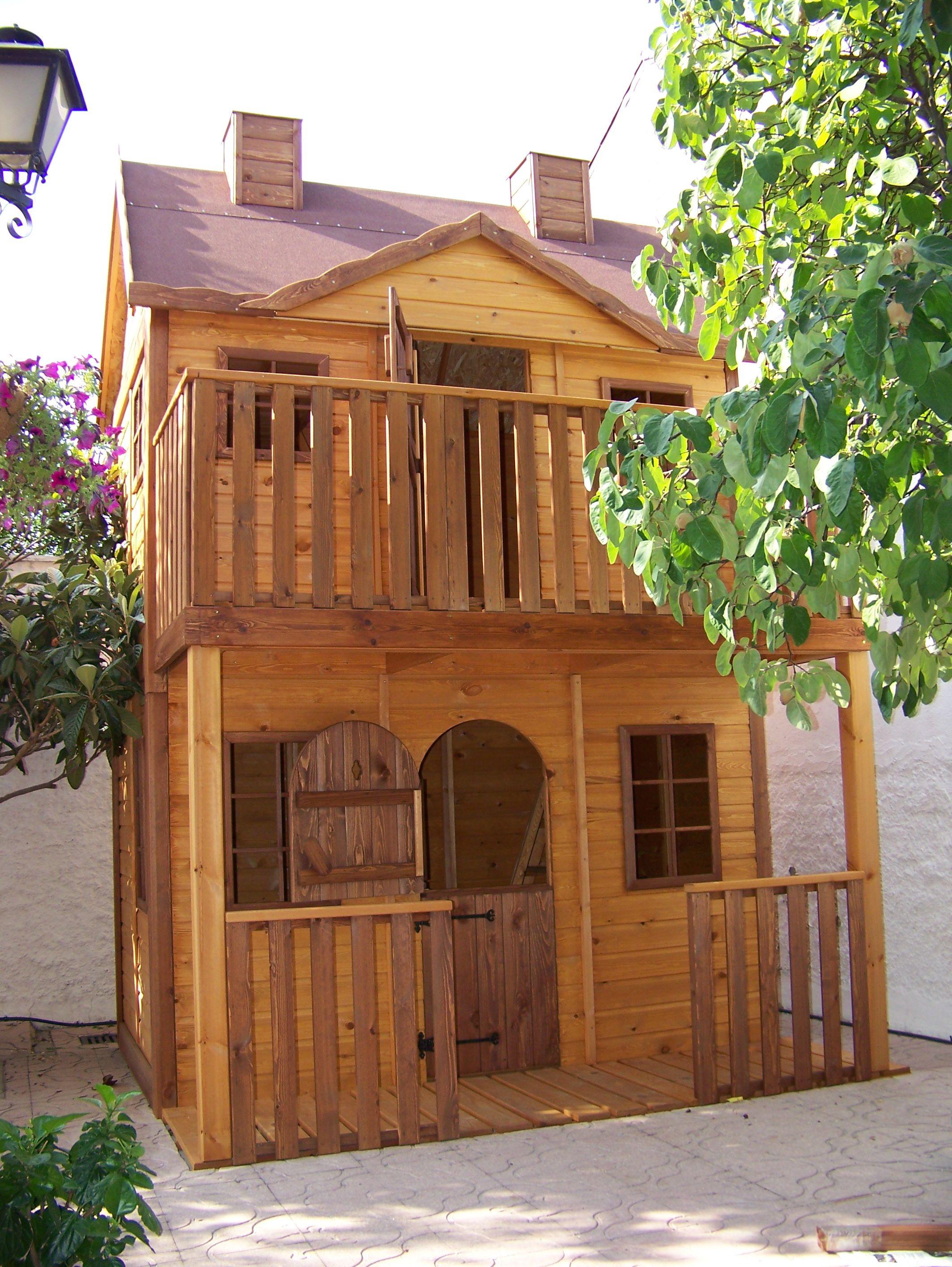 Casita de madera infantil villa orleans en color miel casitas - Casa madera infantil ...