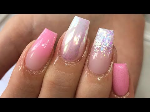 glitter  pink  acrylic nails  tapered square  youtube