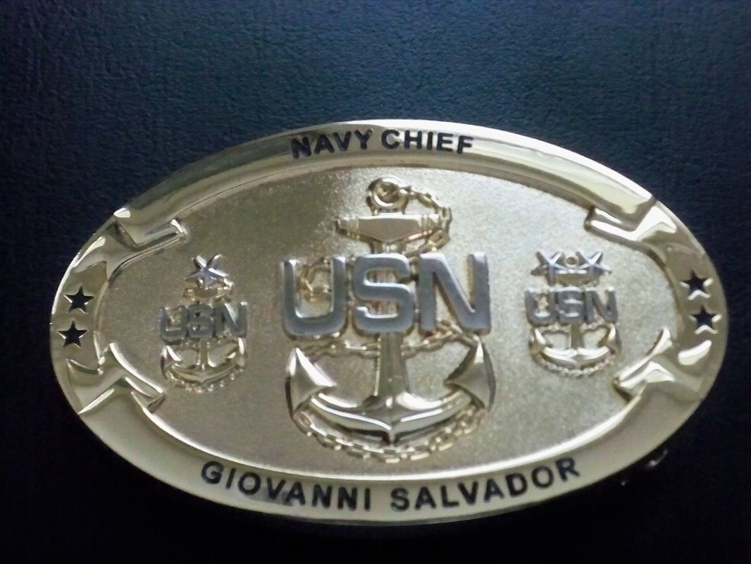 Personalized Navy Chief Belt Buckle
