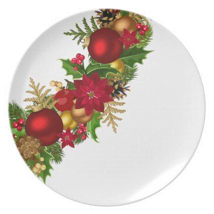Holiday Plastic Plate-Christmas Garland Melamine Plate  sc 1 st  Pinterest & Holiday Plastic Plate-Christmas Garland Melamine Plate | Plastic plates